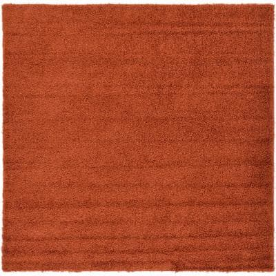 Solid Shag Terracotta 8 ft. Square Area Rug