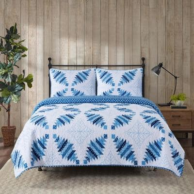 Cathedral Window 3-Piece Blue Polyester Microfiber Full/Queen Quilt Set