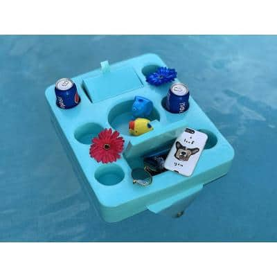 Frontier Storage 19.5 in. x 16 in. x 3 in. Barrier Blue Pool Floating Drink Tray