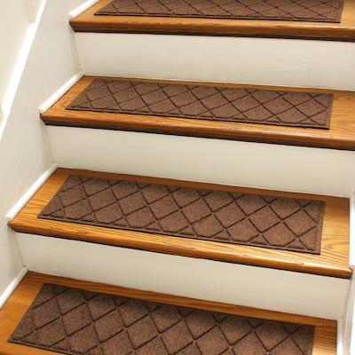 Argyle 8.5 in. x 30 in Stair Treads (Set of 4) Dark Brown