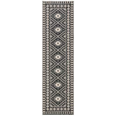 Veranda Ivory/Gray 2 ft. x 16 ft. Aztec Geometric Indoor/Outdoor Runner Rug