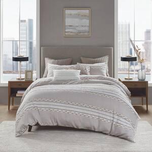 Lennon 3-Piece Taupe Full/Queen Organic Cotton Jacquard Comforter Set