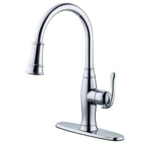 Traditional Single-Handle Pull-Down Sprayer Kitchen Faucet in Chrome Plated