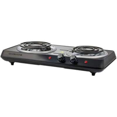 5.7 in. and 6 in. Black Double Hot Plate Burner Electric Stove with Adjustable Temperature Control