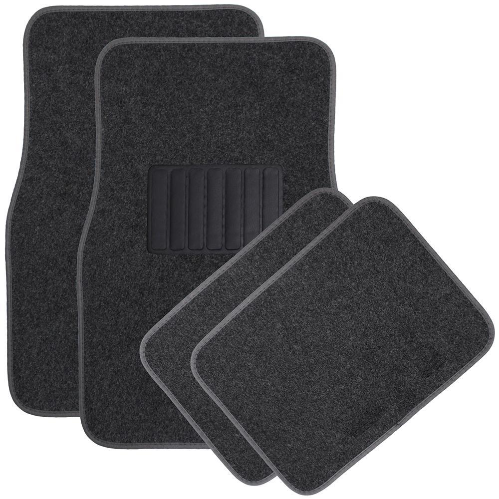 Solid Charcoal 4-Piece Carpet Floor Mat - Universal Fit