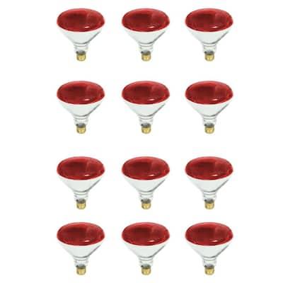 100-Watt PAR38 Dimmable Red Color Incandescent Light Bulb (12-Pack)