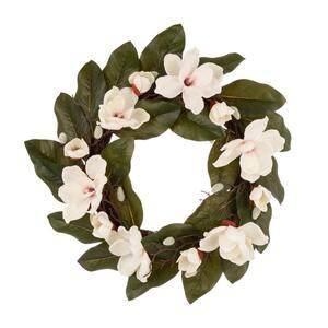 24 in. Dia Artificial Magnolia Wreath