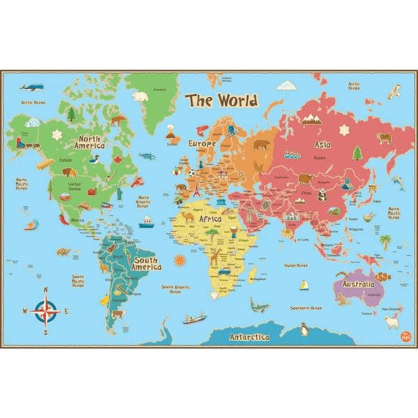 Continents World Map Educational Wall Sticker WS-45487