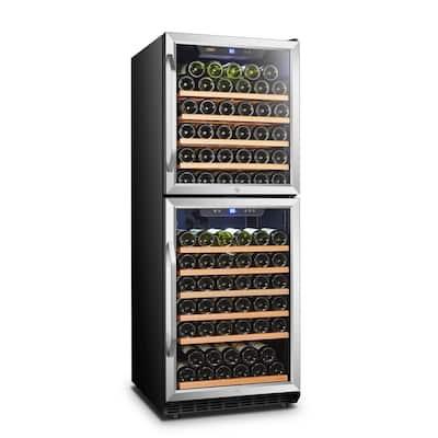 23 in. 133-Bottle Stainless Steel 2 Door Dual Zone Wine Refrigerator