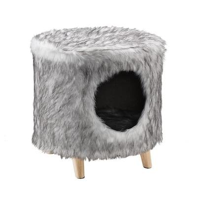 Pufak 16 in. Gray Cat Tree Cylinder