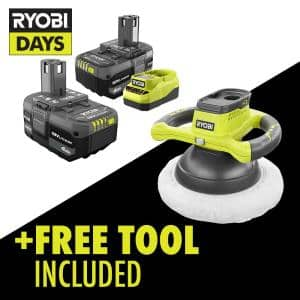 ONE+ 18V Lithium-Ion 4.0 Ah Compact Battery (2-Pack) and Charger Kit with Free Cordless 10 in. Orbital Buffer
