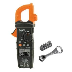 600 Amp AC True RMS Auto-Ranging Digital Clamp Meter and 1/4 in. Drive Electrician's Mini Ratchet Tool Set
