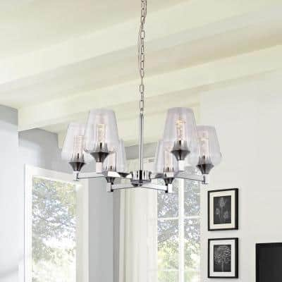 6-Light Brushed Nickel Modern Chandelier with Clear Glass Shades