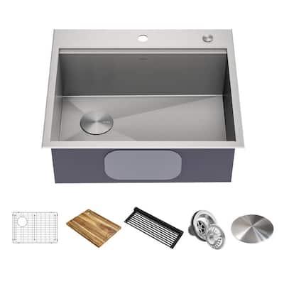 Loften Stainless Steel 18-Gauge 25 in. Single Bowl Drop-In Workstation Kitchen Sink with Accessories