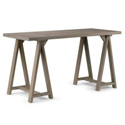 Sawhorse 56 in. Rectangular Distressed Grey Wooden Writing Desk