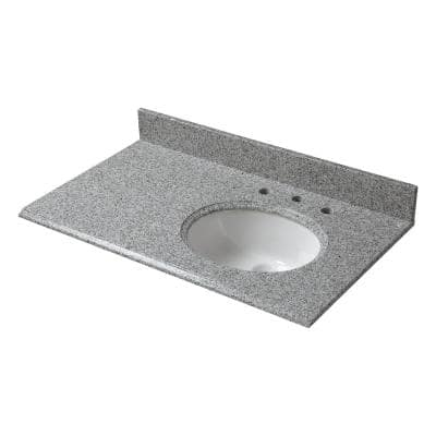 37 in. W Granite Vanity Top in Napoli with Offset Right Bowl and 8 in. Faucet Spread