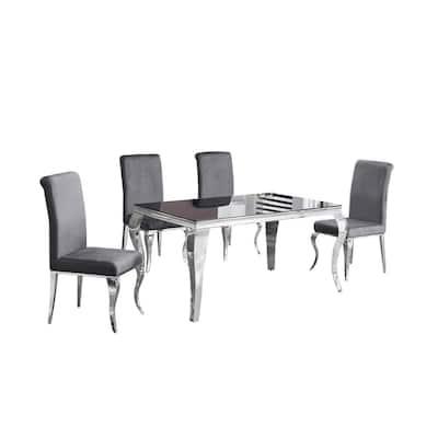Calista 5-Piece Gray Rectangular Smoked Glass Dining Set