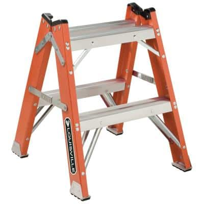 2 ft. Fiberglass Twin Front Step Stool with 375 lb. Load Capacity Type IAA Duty Rating
