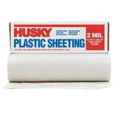 10 ft. x 100 ft. Clear 2 mil Plastic Sheeting (Pallet of 126 rolls)