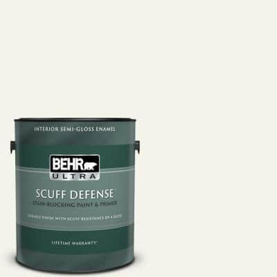 1 gal. Home Decorators Collection #HDC-MD-08 Whisper White Extra Durable Semi-Gloss Enamel Interior Paint & Primer