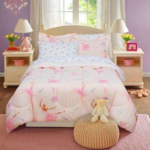 Dancing Ballerina Pink Queen Bed in a Bag with Reversible Comforter