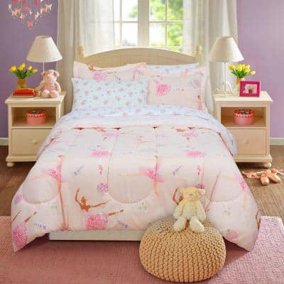 Dancing Ballerina Pink Bed in a Bag with Reversible Comforter, Full Size