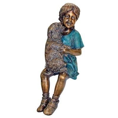 30.5 in. H Cast Bronze Puppy Kisses Sitting Girl Garden Statue