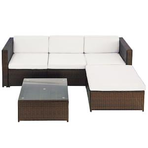 Julie Brown 5-Piece Wicker Patio Furniture Sofa Set with Beige Cushions