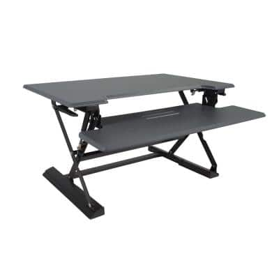 36 in. H Gray and Black Adjustable Standing Desk with Keyboard Tray