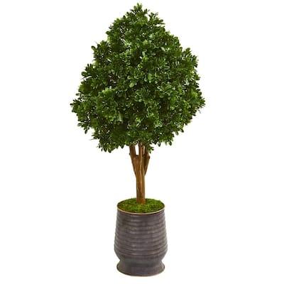 Indoor/Outdoor 49 in. Tea Leaf Artificial Tree in Metal Planter UV Resistant