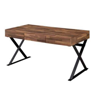 59 in. Rectangular Sand Black 3 Drawer Writing Desk with Solid Wood Material