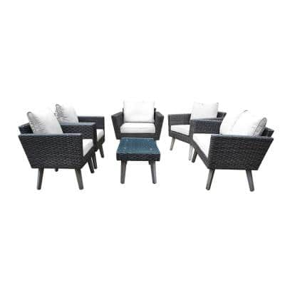 Kotka 6-Piece Wicker Outdoor Patio Sofa Seating Set with Light Grey Cushions