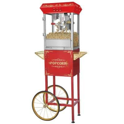 Foundation Series 850-Watt 8 oz. Red Hot Oil Popcorn Machine with Stand and Cart