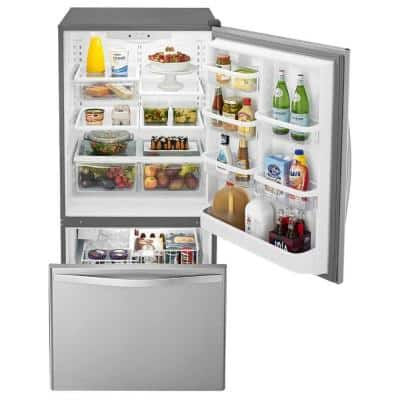22 cu. ft. Bottom Freezer Refrigerator in Stainless Steel with Spill Guard Glass Shelves