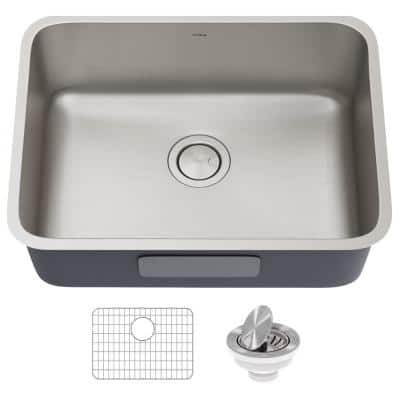 Dex Antibacterial 16-Gauge Stainless Steel 24.75 in. Single Bowl Undermount Kitchen Sink