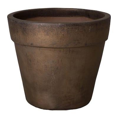 28 in. Dia Metallic Ceramic Round Flower Pot Planter