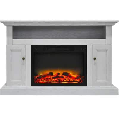 Kingsford 47 in. Electric Fireplace with an Enhanced Log Display and Entertainment Stand in White