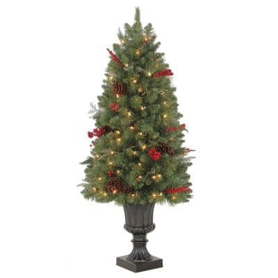 4 ft Winslow Fir Pre-Lit Potted Artificial Christmas Tree with 100 Warm White Mini Lights