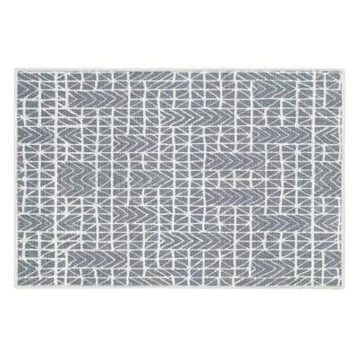 Hudson Cotton Gray 2 ft. x 3 ft. Thin Non Slip Indoor Area Rug or Front Door Foyer Rug for Entryway