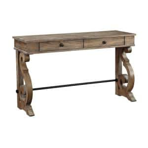 50 in. Sherwood Aged Brown Rectangle Wood Console Table with 2-Drawers