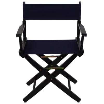 18 in. Extra-Wide Black Wood Frame/Navy Canvas Seat Folding Directors Chair