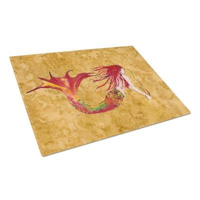Ginger Red Headed Mermaid on Gold Tempered Glass Large Cutting Board