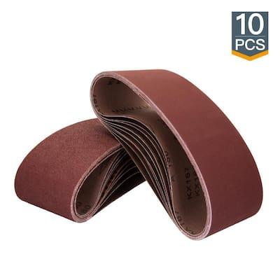 3 in. x 21 in. 180-Grit Aluminum Oxide Sanding Belt (10-Pack)