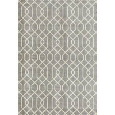 Modern Trellis Pattern Gray 8 ft. x 9 ft. Area Rug