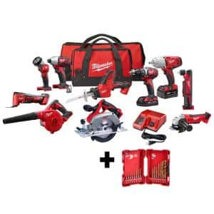 M18 18-Volt Lithium-Ion Cordless Combo Kit (10-Tool) with (2) Batteries, Charger and (2) Tool Bags and Drill Bit Set