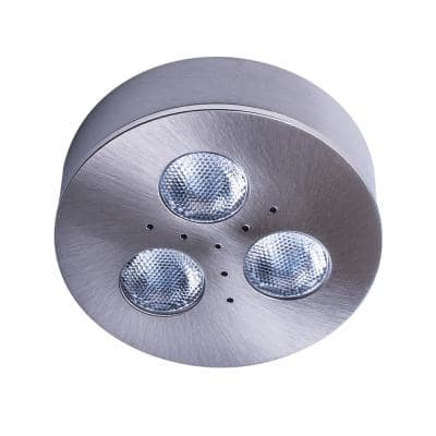 Pro-Grade Bright LED White Brushed Steel Dimmable Puck Light/Recessed Downlight