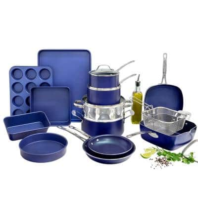 Classic Blue 20-Piece Aluminum Ultra-Durable Non-Stick Diamond Infused Cookware and Bakeware Set