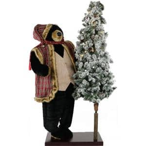 60 in. Christmas Animated Black Bear with Flocked Christmas Tree On Base