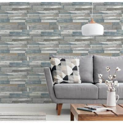 Industrial Wood Natural Non-Woven Peel and Stick Wallpaper