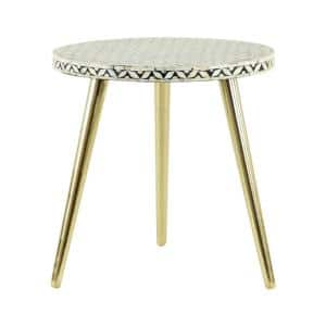 20 in. Gold Aluminum Eclectic Accent Table